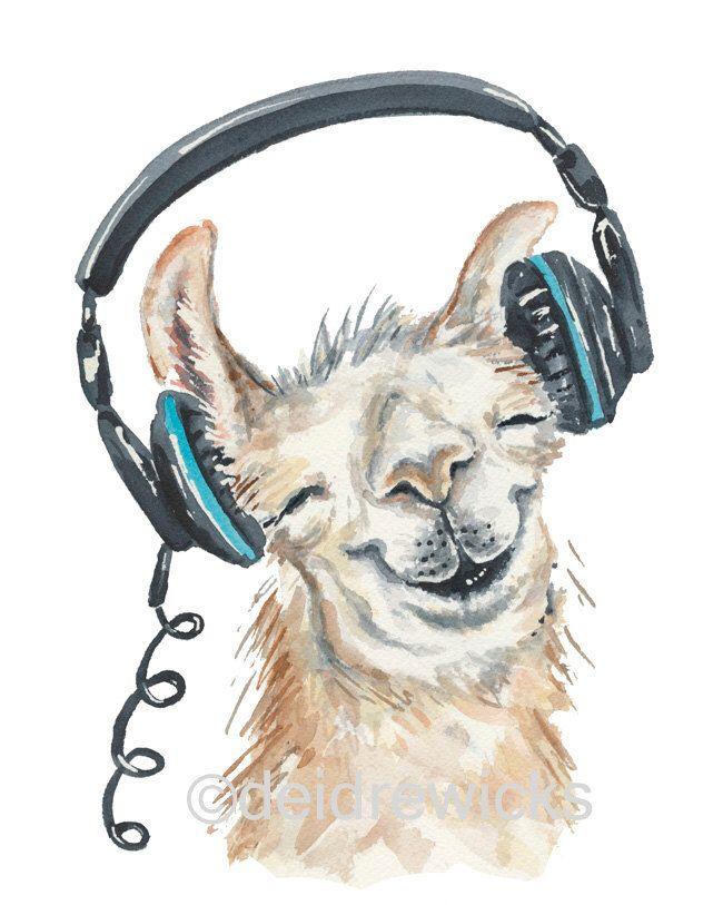 Llama Watercolor PRINT - 5x7 Print, Llama Painting, Music Lover, Music Illustration, Animal Watercolour by WaterInMyPaint on Etsy https://www.etsy.com/listing/251234245/llama-watercolor-print-5x7-print-llama