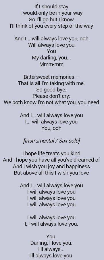 Whitney Houston . I Will Always Love You