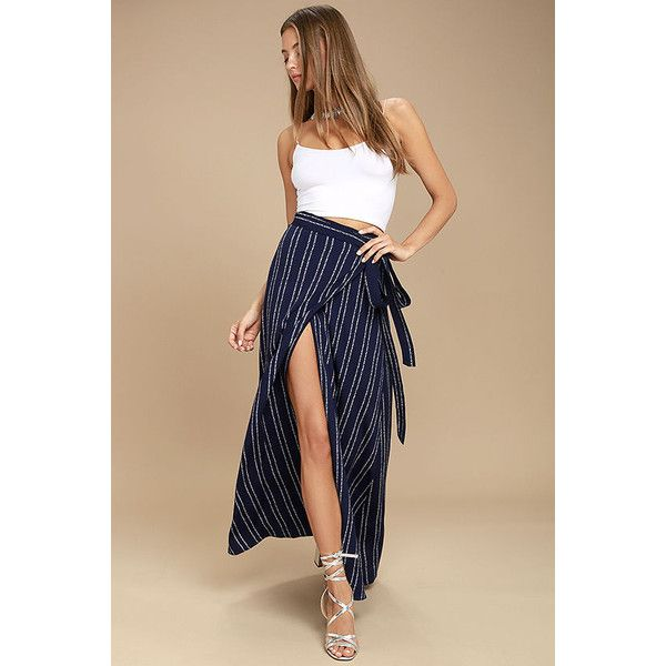 Whole Wide World Navy Blue Print Wrap Maxi Skirt ($67) ❤ liked on Polyvore featuring skirts, blue, high waisted maxi skirt, maxi skirts, navy blue skirts, wrap skirts and long navy skirt