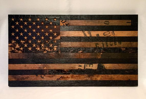 Bourbon Whiskey Barrel Flag. USA Flag from oak by RiverDriveLumber
