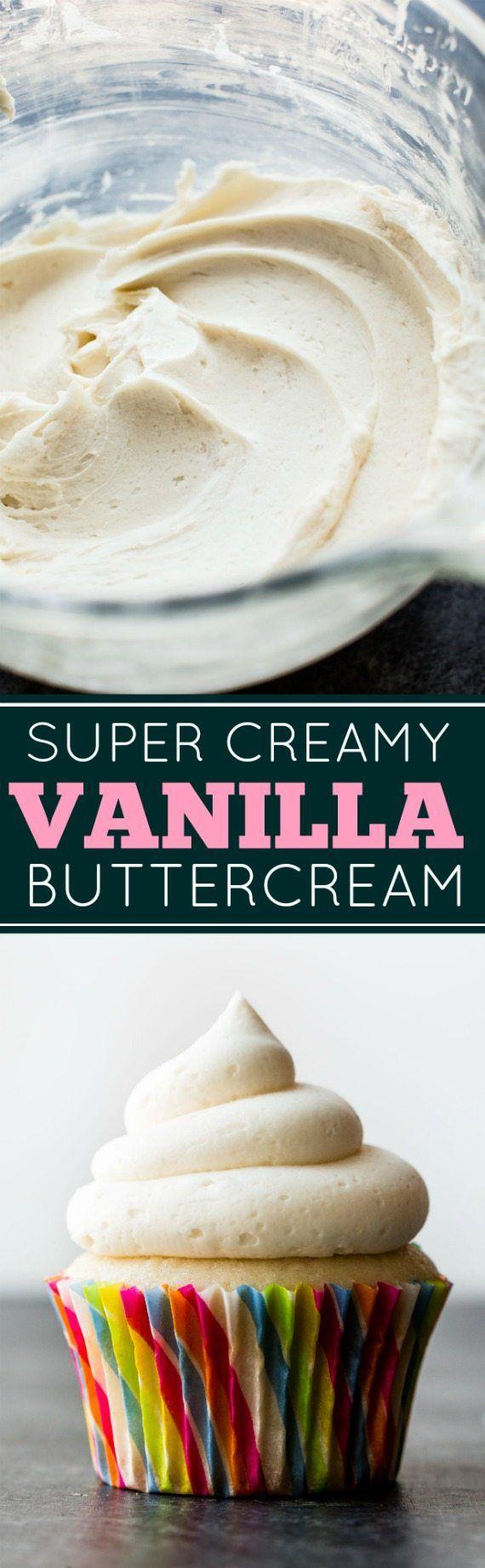 Deliciously soft, creamy, and easy PERFECT vanilla buttercream recipe! sallysbakingaddiction.com