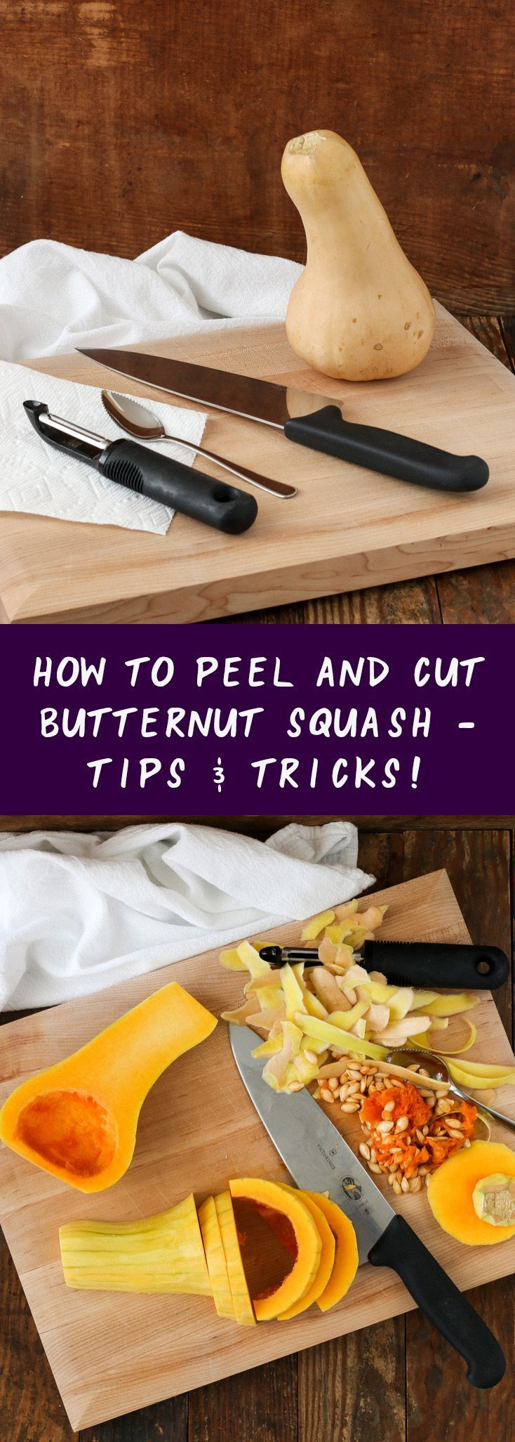 a quick tutorial on how to peel and cut butternut squash the easy way – without it slipping out of your hands or cutting yourself. see how a paper towel makes all the difference! #squash #tips