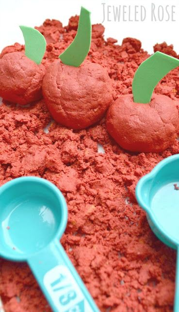 Homemade Apple Moon Sand Recipe Perfect for Fall- kids will love making all sorts of decadent Fall treats as they explore the FUN texture of this oozing sand. Mold-able, squishy, a bit oozey, and JUST TOO FUN!