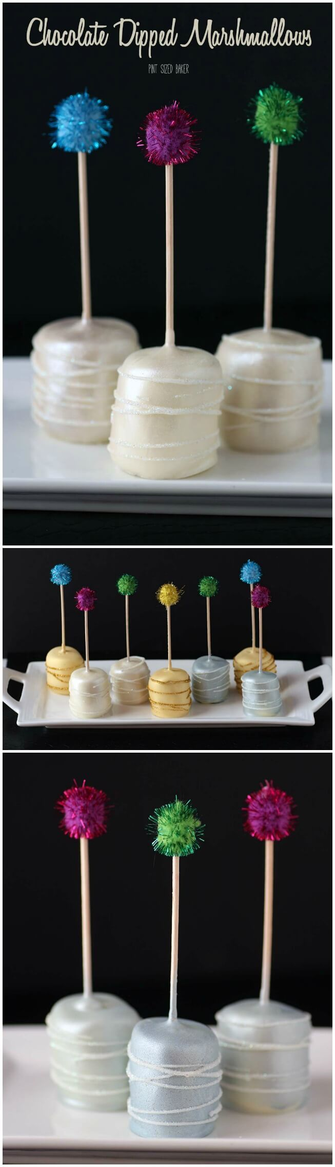 White Chocolate Dipped Marshmallows are sparkling for your New Years Party! Ring in the new year with some easy no-bake treats.