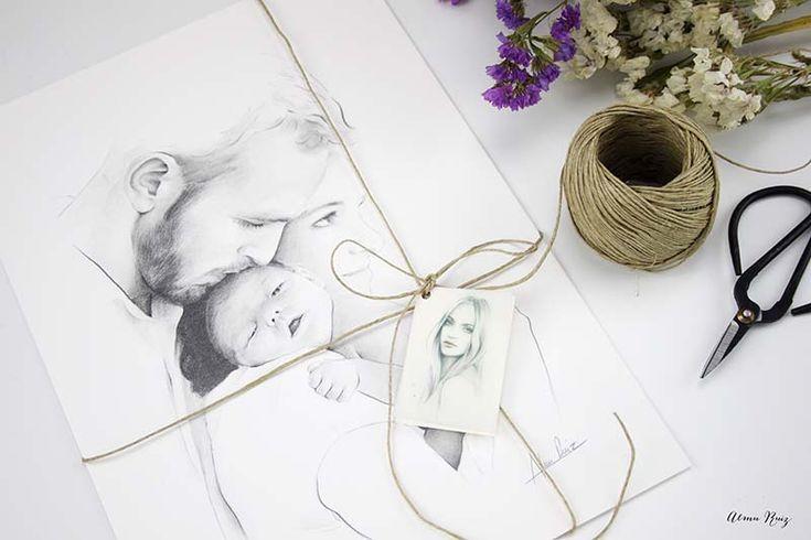 Retrato de familia dibujado a lápiz de Almu Ruiz. Family portrait. Pencil drawing