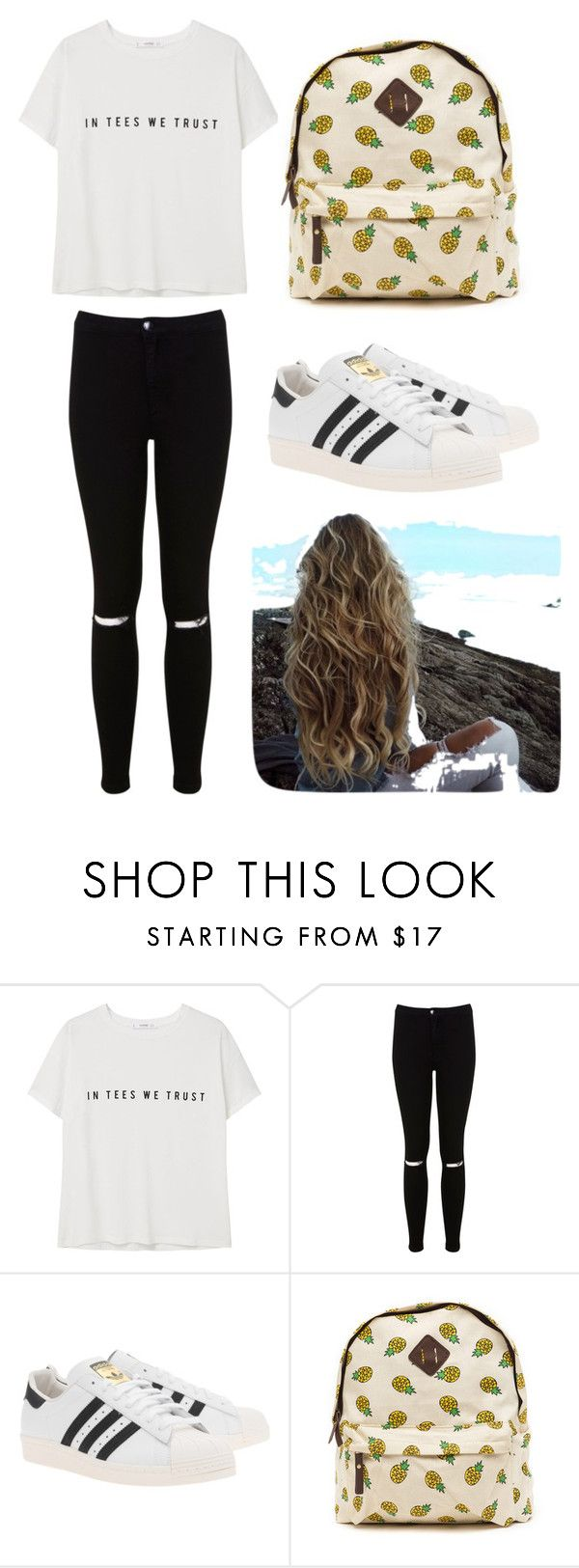 Outfit #1 Casual by anaza1410 on Polyvore featuring moda, MANGO, Miss Selfridge and adidas Originals