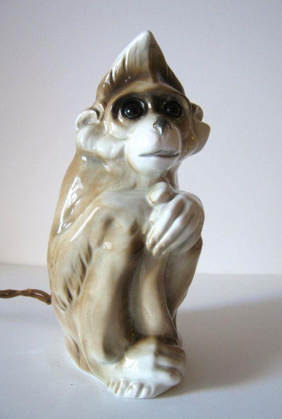 Vintage Porcelain Night Perfume Lamp Sitting Monkey