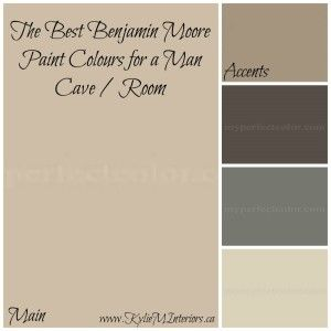 paint colours for a neutral and rich toned man cave or man room using benjamin moore bleeker beige, alexandria beige, chelsea gray and more....