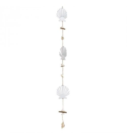 WOODEN HANGING GARLAND W_SEASHELLS 7Χ0_3Χ80