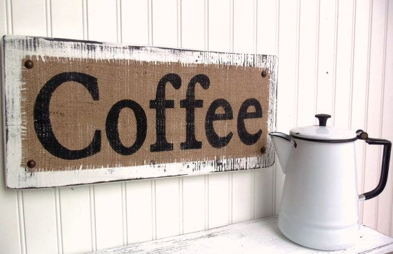 COFFEE burlap distressed kitchen dining sign by OldAndNewShoppe, $32.00