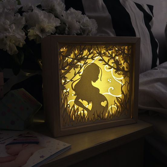 Pregnant Women Paper Cut Light Box Shadow Box Perfect Gift