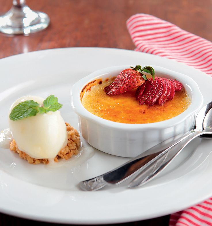 Passion Fruit Creme Brulee Lemon Sorbet, Fresh Strawberries, Sable Breton by Dino Ferrari - http://www.breakfastmag.com/03/13/2014/passion-fruit-creme-brulee-lemon-sorbet-fresh-strawberries-sable-breton/