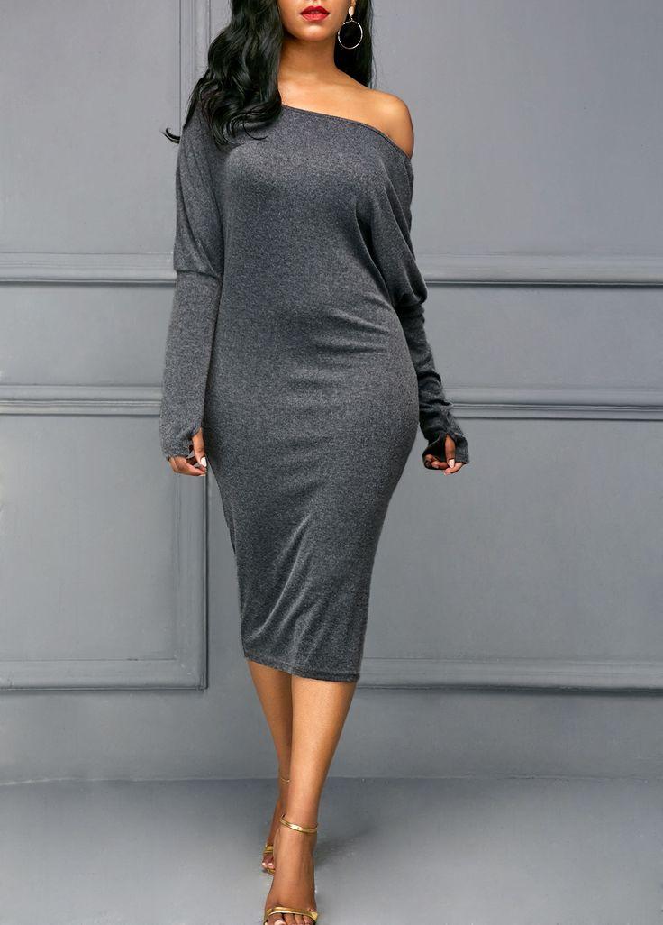 Skew Neck Long Sleeve Midi Dress | modlily.com - USD $27.25