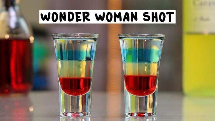 WONDER WOMAN Grenadine Limoncello Blue Raspberry Vodka Peach Vodka  PREPARATION 1. Pour grenadine into the base of a shot glass and use the back of a spoon to layer on limoncello.  2. Layer on blue raspberry vodka and top with a layer of peach vodka.  DRINK RESPONSIBLY!