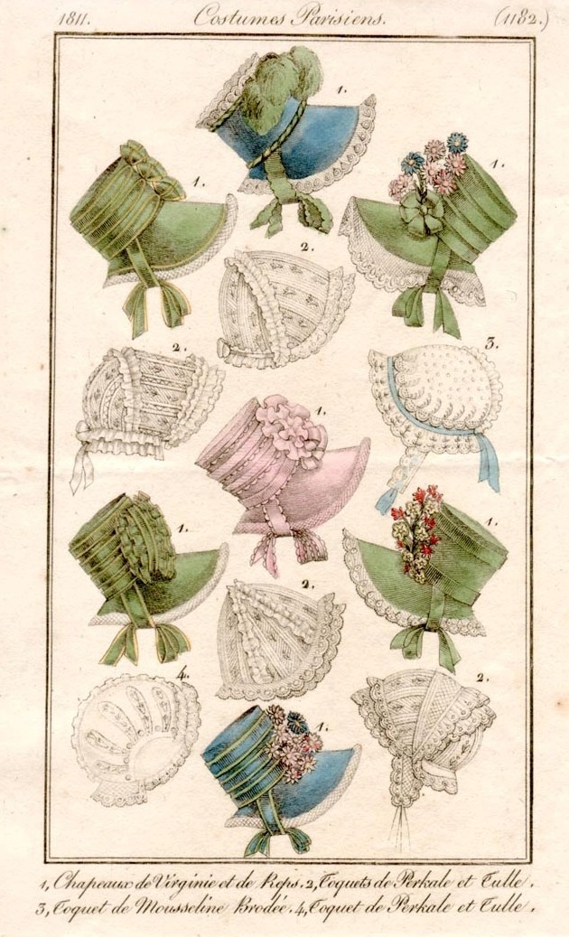 Kate's hat - I'm not sure that I like the bonnet look - it's too modest for Kate (maybe even at the end of the play) Bonnets 1811 costume parisien