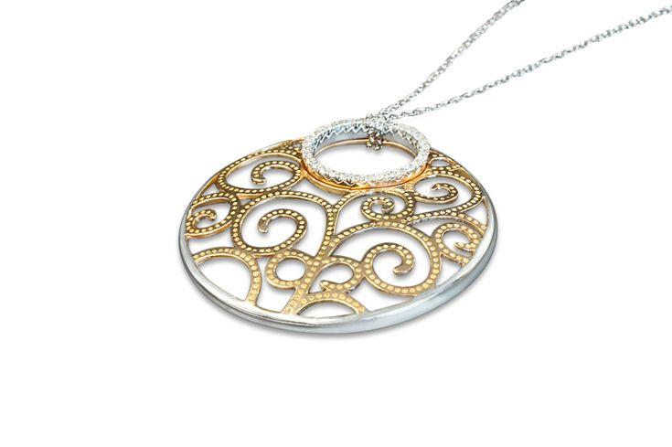 18 ct white & rose gold filigree pendant & chain set with diamonds