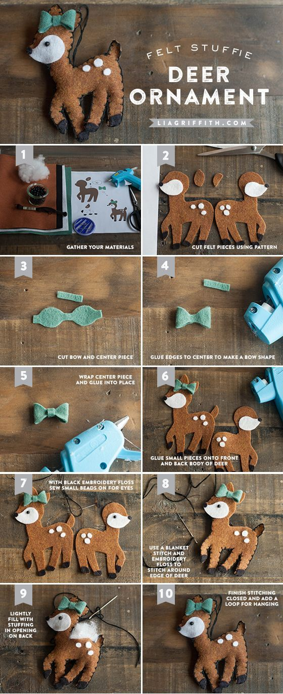 Make these adorable DIY Felt Christmas Ornaments. Pattern and Tutorial included.