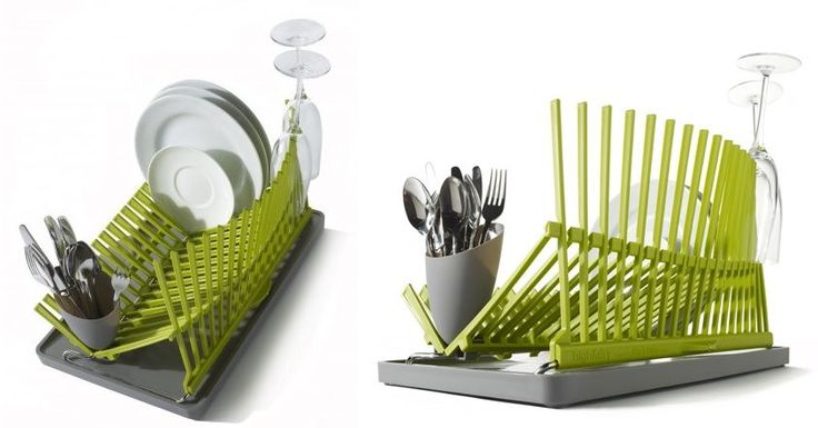 A lot of modern designs take functionality to a whole new level, giving it an artistic, chic twist, like in the case of this eye-catching dishrack. It packs flat and unfolds to reveal its true form. Although apparently simple, the design is really practical.
