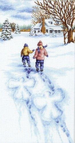 Вышивка Снежные ангелы (Dimensions)