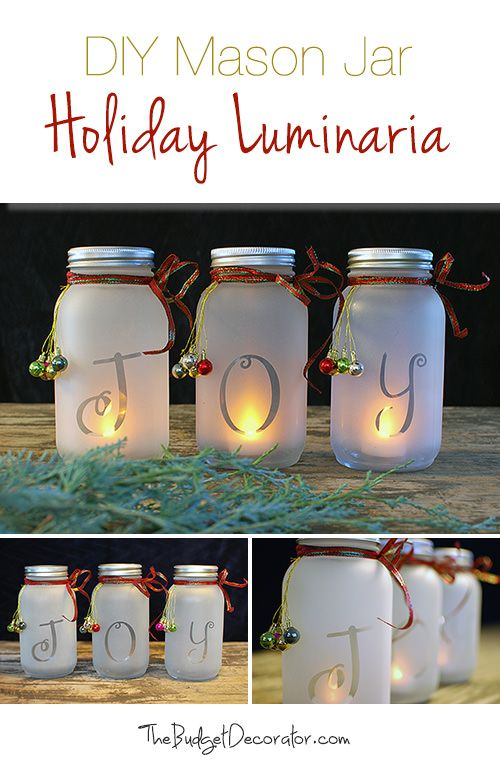 DIY Mason Jar Holiday Luminaria                                                                                                                                                                                 More