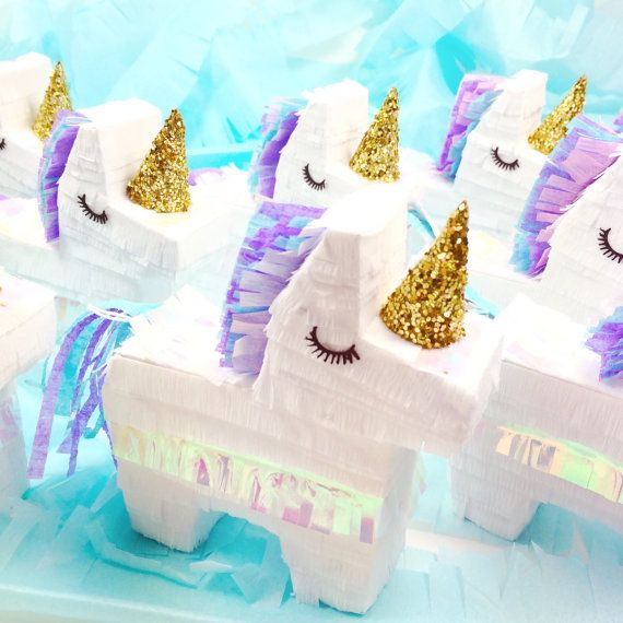 Set of 3 Mini Unicorn Piñatas Party Favors Unicorn by LulaFlora. Cheap Decorations and easy supplies for children's birthday party ideas