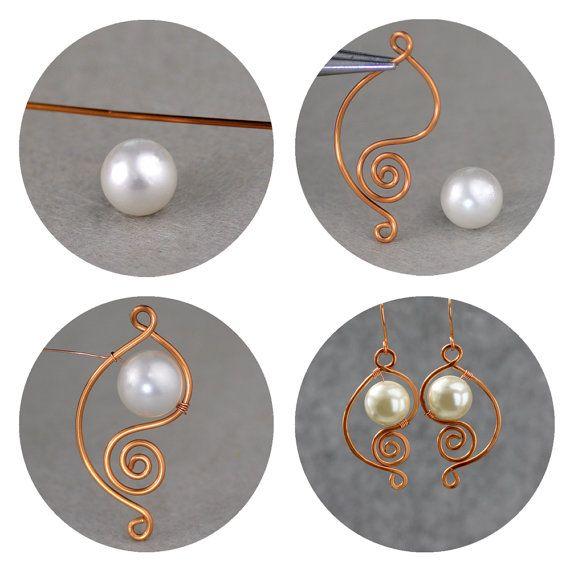 Copper scroll wiring pearl dangle earrings by AnniDesignsllc