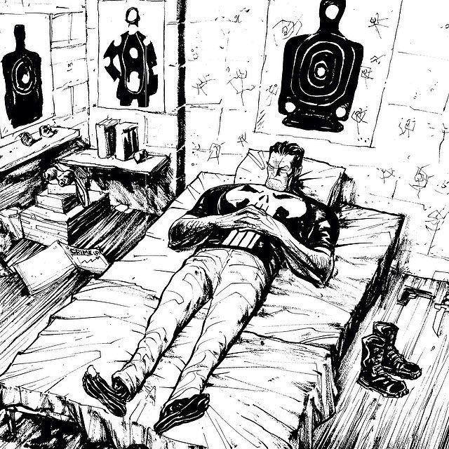 #mulpix Punisher sleeping, probably punishing criminals in their dreams...  #punisher  #daredevil  #disney  #ink  #marvel  #comics  #art  #FrankCastle