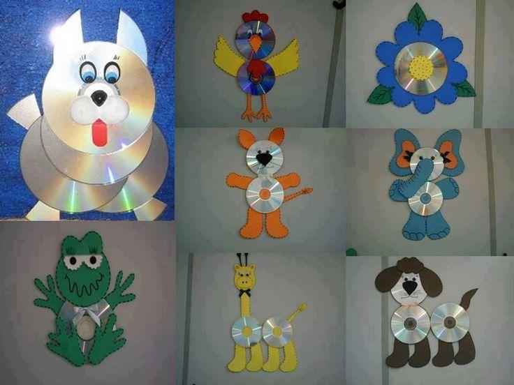 cómo hacer animales con cds realizando manualidades para niños