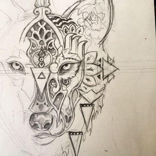 geometric wolf tattoos Stunning Geometric Line Tattoos By Dr. Woo ...
