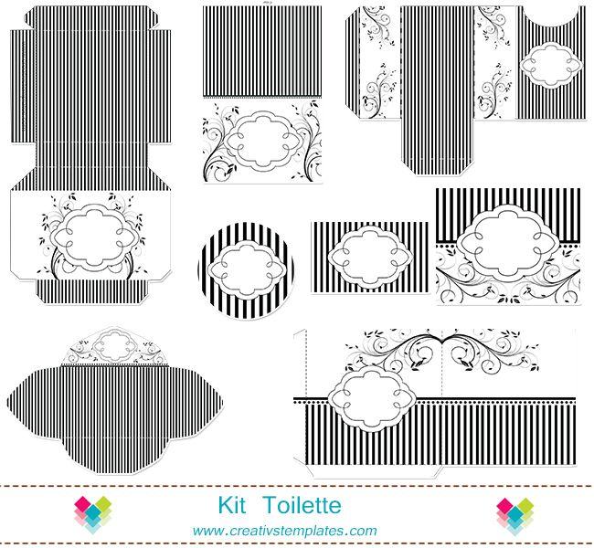Kit Toilette Floral P/B mod:626 - **Kit Toalete | Creativstemplates