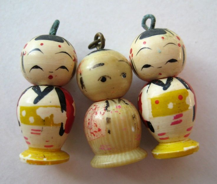 Vintage Celluloid Painted Kokeshi Doll Bracelet Charms