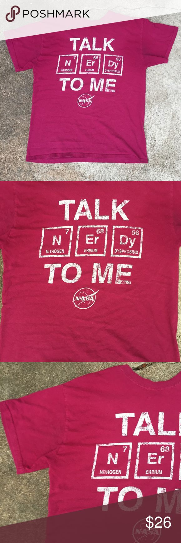 NASA Talk Nerdy To Me Elements Shirt Jason De Rulo NASA Talk Nerdy To Me Tee t shirt size Medium in a maroon magenta purple red color! Bought at the gift shop at the houston NASA museum on a tour there! Great fit for a small as well! One lighter mark under the graphic shown best in third pic! Tops Tees - Short Sleeve