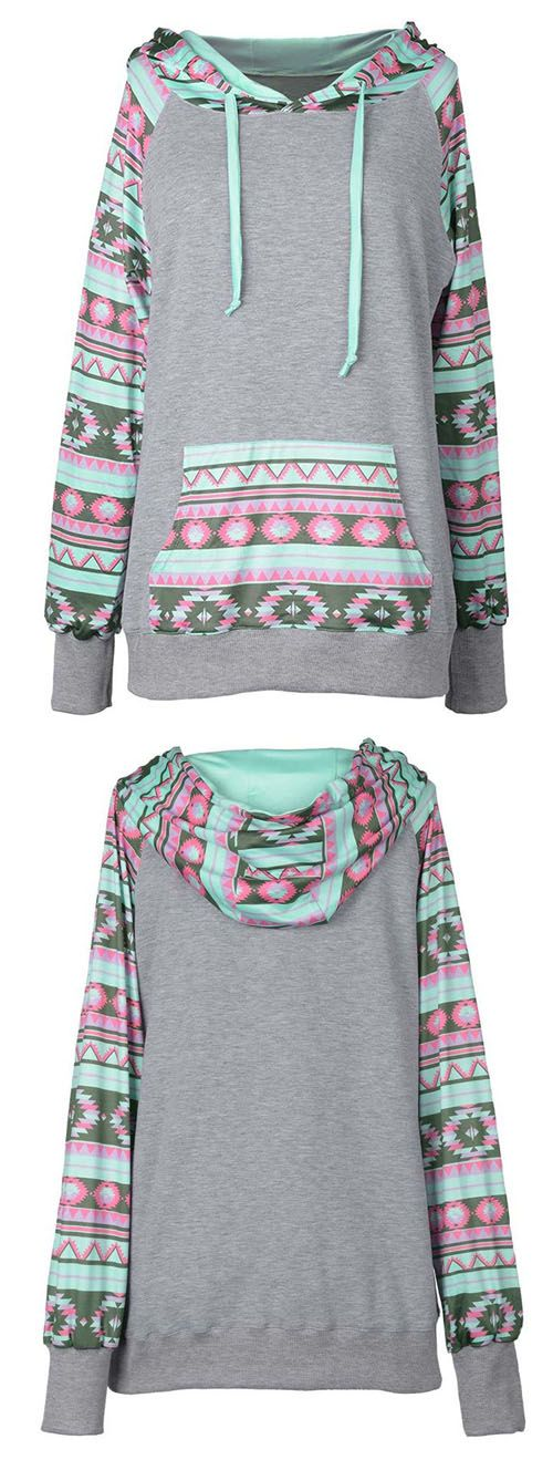 Add colors to your life with only $22.99! This mint ethnic splicing hoodie with front pocket will bring your bored life with lights. Hold this fantastic fall Now!