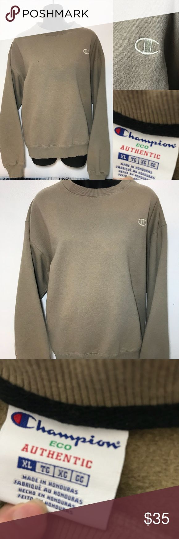 Tan Champion Crew Neck Sweatshirt XL Chest- 25 in  Length- 25 in    Sleeve- 23  -All measurements in inches taken laying flat on a table    -add your items to a bundle so I can make you a discount offer!  -some items prices are firm unless bundled  -no holds  -no trades  -same day or next day shipping Champion Shirts Sweatshirts & Hoodies
