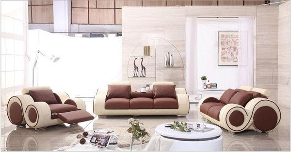 Modern Brown And Cream Sofa Set Lf 4088 Cb Sofa Set Leather Sofa Set Italian Leather Sofa