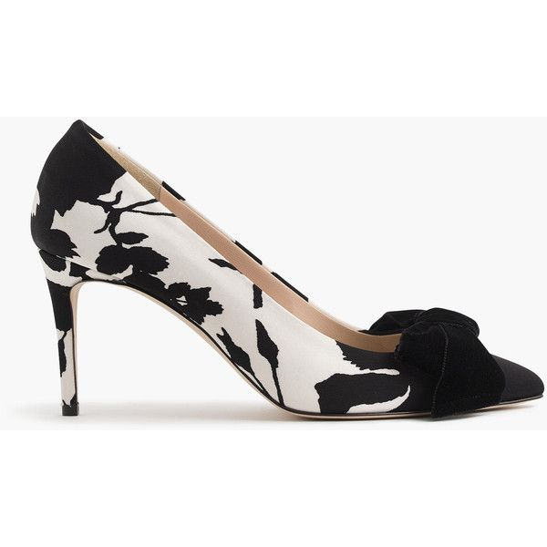 J.Crew Lucie Bow Pumps ($395) ❤ liked on Polyvore featuring shoes, pumps, bow shoes, floral pattern pumps, patterned pumps, high heeled footwear and high heel shoes
