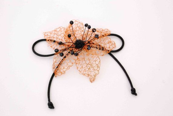 FREE SHIPPING Crochet Flower in copper by MeandMamaCreations, €15.00