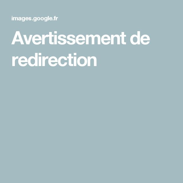 Avertissement de redirection