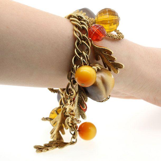 Fall Acorn Charm Bracelet