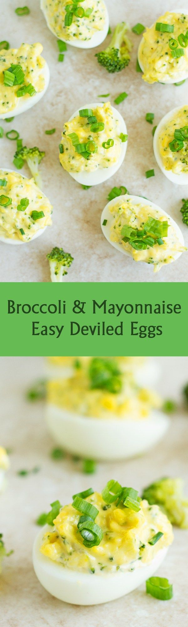 Broccoli & Mayonnaise Easy Deviled Eggs - Vegetarian easy deviled eggs recipe stuffed with broccoli and mayonnaise. This is perfect for Easter, brunch, appetizer or any Party! It can be served with bread of bun by ilonaspassion.com I @ilonaspassion