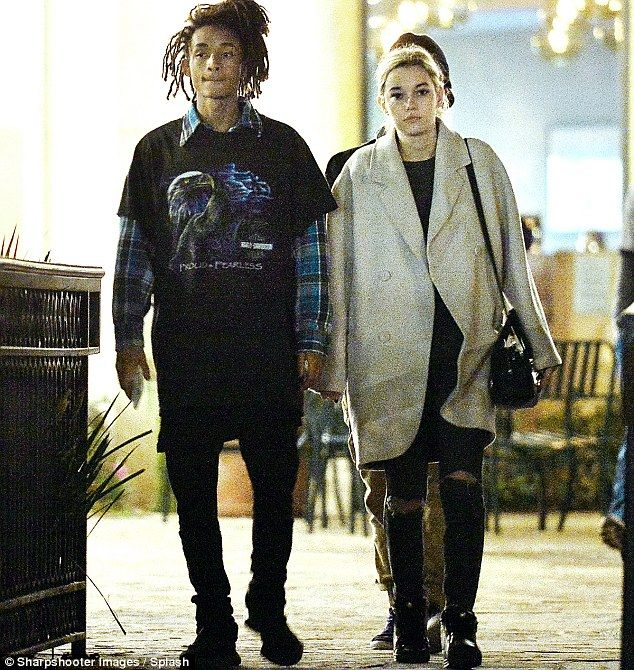 Smitten duo: Jaden Smith and Sarah Snyder were spotted walking side by side after a sweet sushi dinner date in Calabasas on Monday