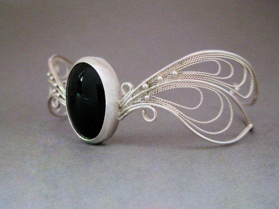 Onyx bracelet by AlchemiA925 on Etsy