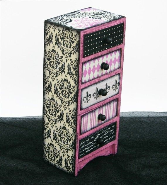 Jewelry Box French Market Pink and Black by NandJDesigns on Etsy, $38.99