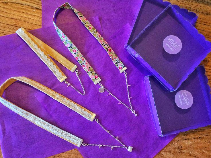 Originales collares de tela, plata de ley y cristal de swarovski. #Handmade #Craft #Hechoamano #LibertyPrint  #SewLiberty