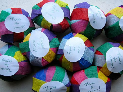 Surprise balls. (need to remember this). I may even do this for my hubby's 30th bday for favors for friends. We r going bowling so this idea plays in with the ball theme lol