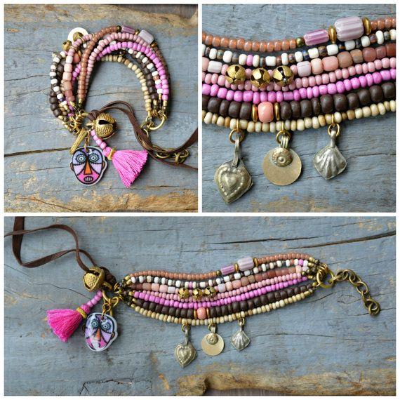 Rustic, Ethnic multi strand bracelet, Hippie, Boho, Gypsy bracelet,Tassel,  Tribal bracelet, Trade bead bracelet, Kuchi charm, Bell, Coin.