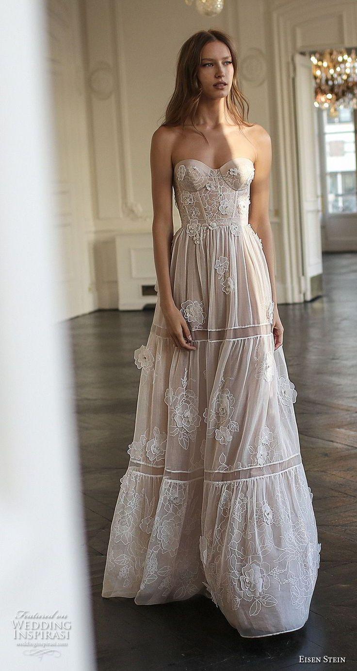 eisen stein 2018 bridal strapless sweetheart neckline full embellishment bustier…