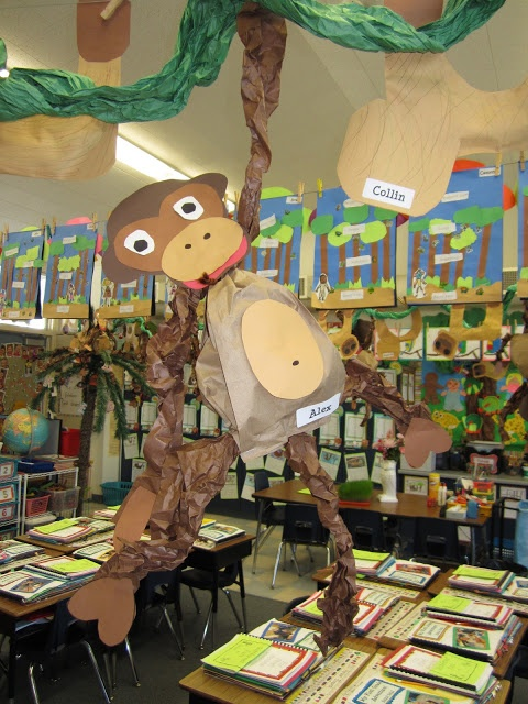 Science- Rainforest research report. Teacher decks out room like a rainforest, and students research it!