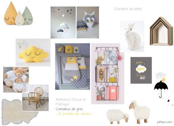 Decoration De Chambre De Bébé Gris Et Jaune : Planche d inspiration déco de chambre bébé gris et