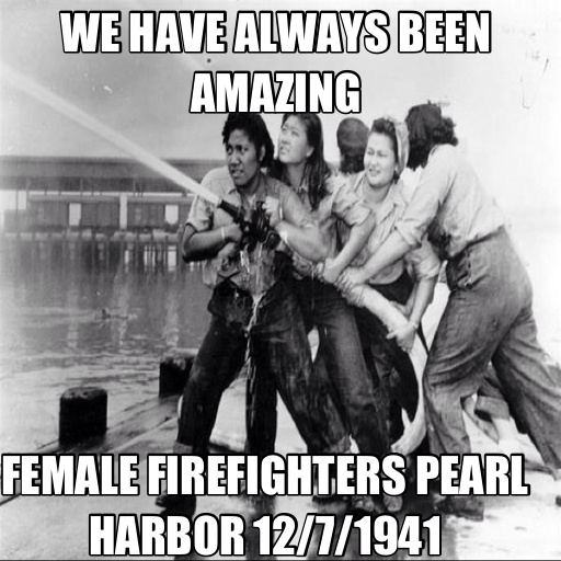 Female firefighters working at Pearl Harbor December 7, 1941